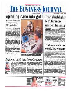 Front page of The Business Journal, July 29, 2011, featuring coverage of nanotechnology research at N.C. A&T.