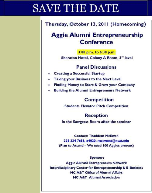 Save the date notice for Aggie Alumni Entrepreneurship Conference, Thursday, October 13, 2011