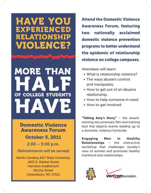 Poster for Domestic Violence Awareness Forum -- Wed Oct 5 2pm-5pm, Harrison Auditorium
