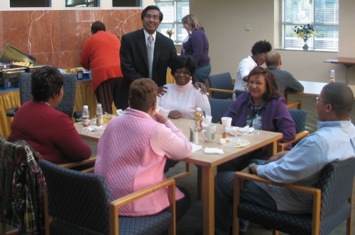 Dr. Jag Sankar and DORED staff members at ERC appreciation breakfast hosted by the Division of Research