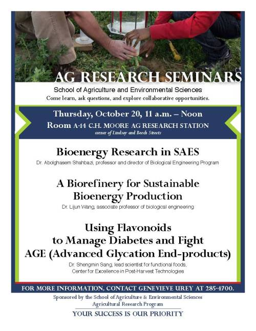Poster for Ag Research Seminars, Thursday October 20