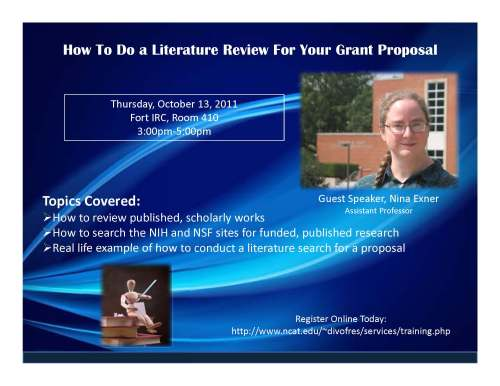 Flyer for literature review seminar, Thurs Oct 13, 2011