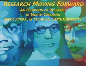 "Cover of the new DORED research brochure, ""Research Moving Forward: An Overview of Research at North Carolina A&T State University."""