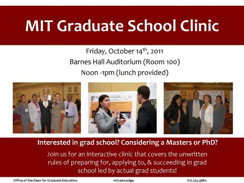 Poster for MIT Graduate School Clinic, Friday Oct. 14, 2011, at NC A&T