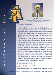 Provost's notice of appointment of Dr. Sanjiv Sarin as dean of graduate studies and associate vice chancellor of research.