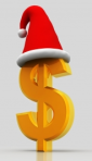A dollar sign with a Santa hat perched on it.