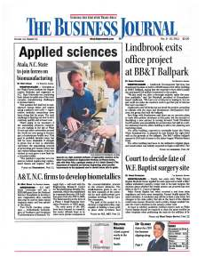 Front page of The Business Journal, December 9, 2011, edition