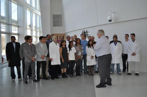 Dean Ryan and students on move-in day at the Joint School of Nanoscience and Nanoengineering, December 2, 2011