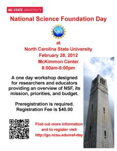 Poster for NSF Day at NCSU, Feb. 28, 2012