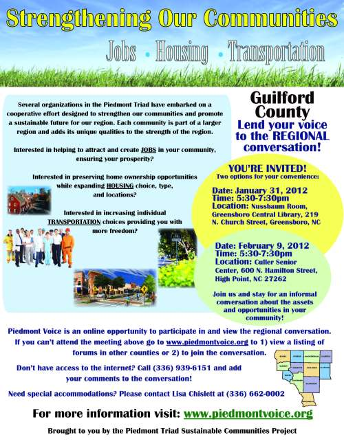 Flyer for 1/31/2012 event -- Piedmont Triad Sustainable Communities Project