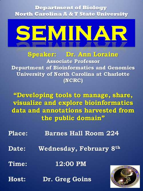 Poster for seminar with Dr. Ann Loraine seminar 2012-02-08