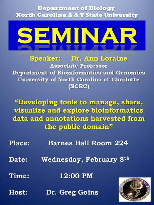 Poster for seminar with Dr. Ann Loraine seminar 2012-02-08