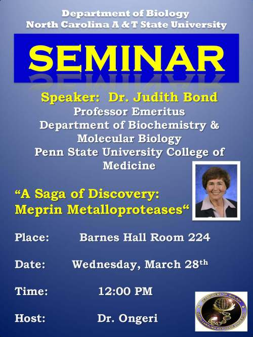 Flyer for seminar with Dr. Judith Bond 3-28-12