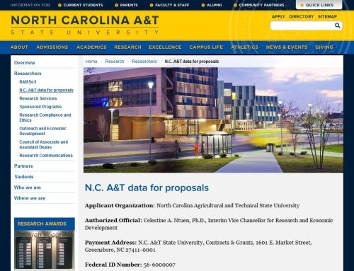 Screenshot of N.C. A&T data for proposals