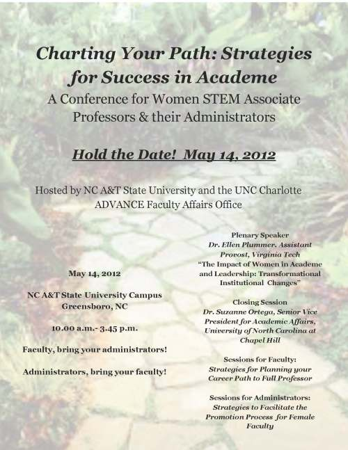 Flyer for ADVANCE conference, May 14 at NC A&T