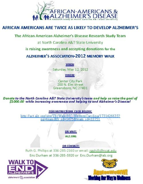 Poster for Alzheimers memory walk, May 12, 2012