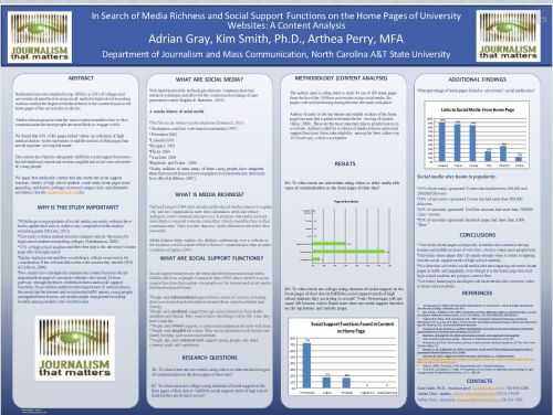 Research poster on media richness on university websites