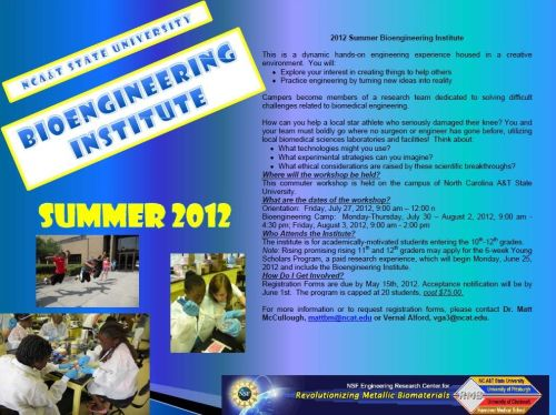 Flyer for Summer Bioengineering Camp at N.C. A&T