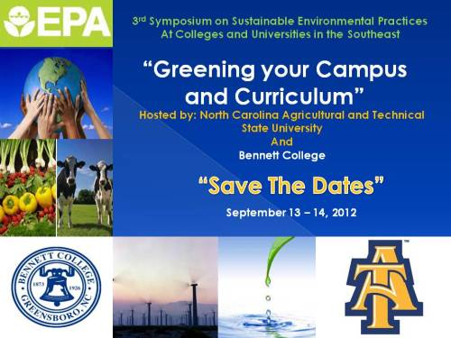 "Save the date card for EPA conference ""Greening your Campus and Curriculum"""