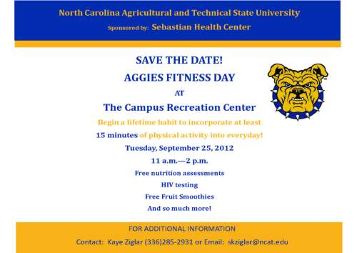 Flyer for Aggie fitness Day