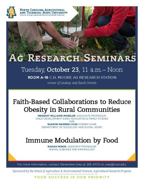 Flyer for 2012 Ag Research Seminars, Tuesday Oct. 23