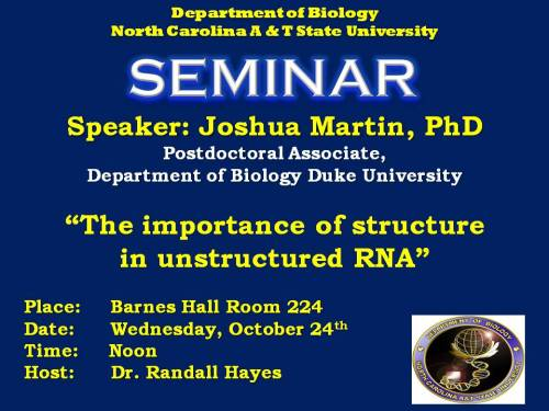 Flyer for talk by Dr. Joshua Martin 10-24-12