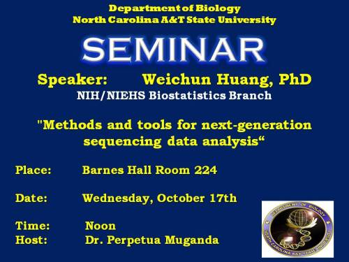 Flyer for talk by Dr.Weichun Huang, 10-17-12