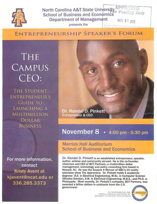 Entrepreneurship Speaker's Forum flyer for November 8, Dr. Randal Pinkett