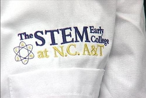 Lab coat for the STEM Early College at N.C. A&T