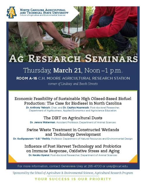 Flyer for 2013 Ag Research Seminars