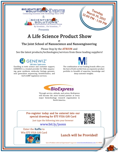 Flyer for life science product show @ JSNN March 19, 2013