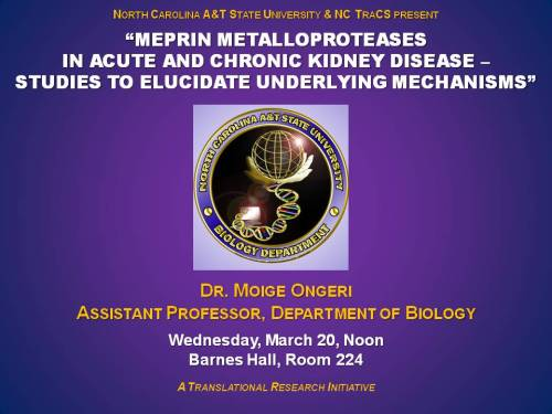 Talk on kidney disease by Dr. Moige Ongeri, March 20, 2013