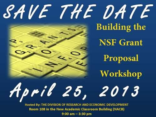SAve the date flyer for NSF proposal workshop, Thursday April 25