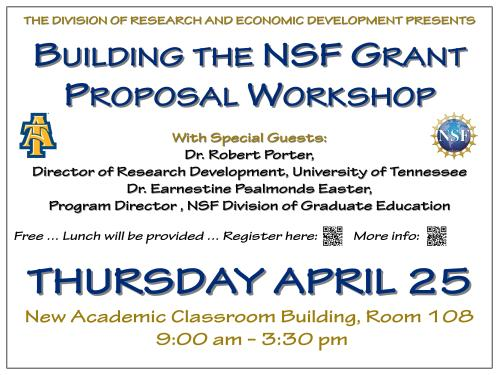 Flyer for NSF grant workshop, April 25, 2013