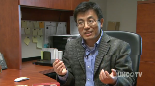 Screengrab of Dr. Sang interviewed by UNC-TV