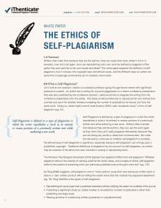 Title page of self-plagiarism white paper from iThenticate