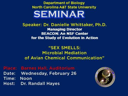 Flyer for Dr. Whittaker's biology seminar