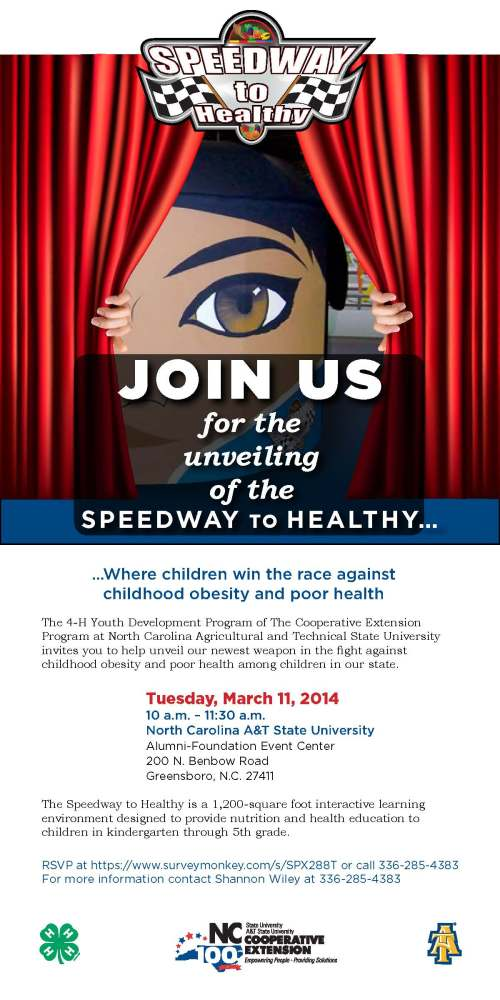 "Invitation to ""Speedway to Healthy"" event, Tuesday March 11"