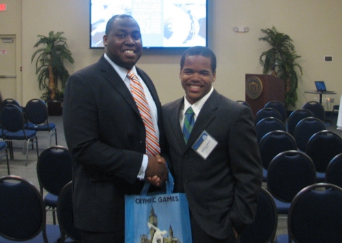 Student Michael Baker and tech transfer director Louis Judge