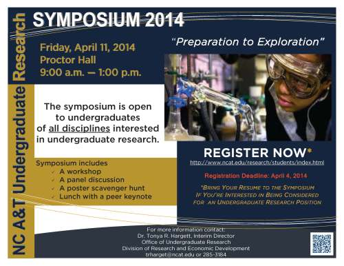 Flyer for 4/11/2014 Undergraduate Research Symposium