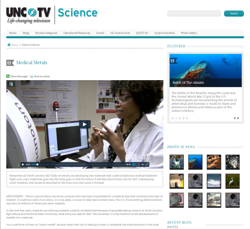 Screenshot of UNC-TV webpage with video