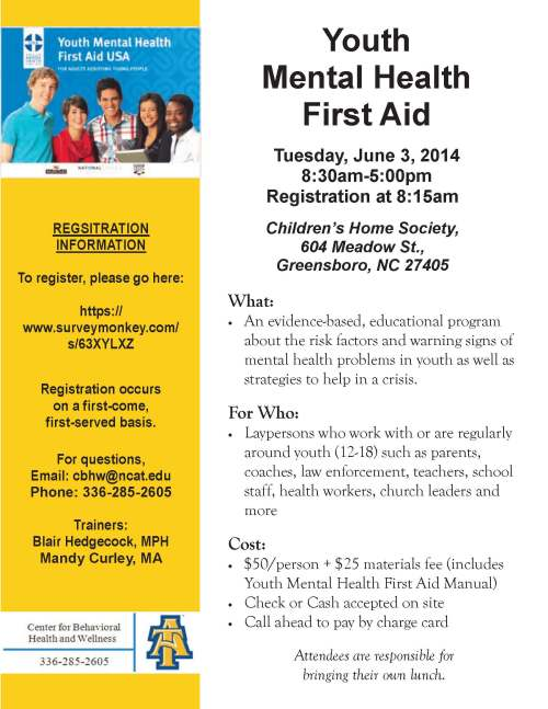 Flyer for June 3 youth mental health program