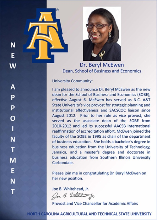 Provost's anouncement of Dr. McEwen's appointment