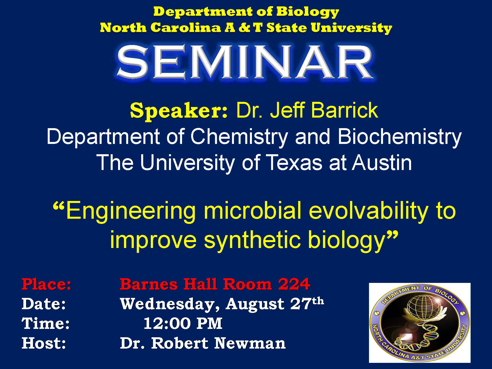 biology seminar Departmental seminars to nominate a speaker: verify availability of the date on the future or current schedule, then contact nicole creanza or ann tate to schedule the speaker please include an email address for your speaker click a link below to see a full listing of the seminar series schedules archived unless otherwise noted, seminars.